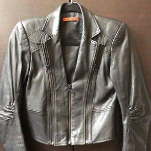 Alice & Olivia black cropped leather jacket